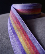 "AK-Trading 1.5"" Inches X 10 Yards Vintage Cloth Striped Rainbow Ribbon (Purple)"