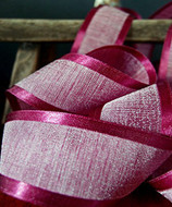 "AK-Trading 1.5"" x 25 Yards Faux Linen Ribbon with Satin Edge - Select From 3 Sizes and 14 Colors (Burgundy)"