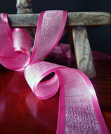 "AK-Trading 1.5"" x 25 Yards Faux Linen Ribbon with Satin Edge - Select From 3 Sizes and 14 Colors (Hot Pink)"