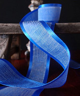 "AK-Trading 1.5"" x 25 Yards Faux Linen Ribbon with Satin Edge - Select From 3 Sizes and 14 Colors (Royal Blue)"