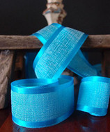 "AK-Trading 1.5"" x 25 Yards Faux Linen Ribbon with Satin Edge - Select From 3 Sizes and 14 Colors (Turquoise)"