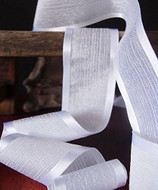 "AK-Trading 1.5"" x 25 Yards Faux Linen Ribbon with Satin Edge - Select From 3 Sizes and 14 Colors (White)"