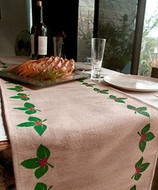 "AK-Trading 13"" x 180"" Juco Burlap & Cotton Blend Christmas Table Runner (Mistletoe)"