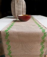 "AK-Trading 13"" x 180"" Juco Burlap & Cotton Blend Christmas Table Runner (Moss Green Leaves)"