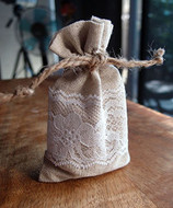"AK-Trading 3"" x 5"" Linen Favor Pouch Gift Bag with Lace Decor - Pack of 12"
