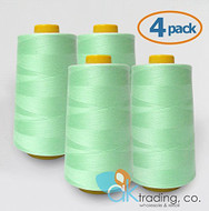 AK-Trading 4-Pack AQUA Serger Cone Thread (6000 yards each) of Polyester thread for Sewing, Quilting, Serger #877