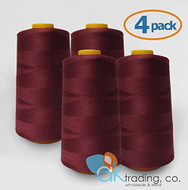 AK-Trading 4-Pack BURGUNDY Serger Cone Thread (6000 yards each) of Polyester thread for Sewing, Quilting, Serger #625