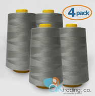 AK-Trading 4-Pack LIGHT GRAY Serger Cone Thread (6000 yards each) of Polyester thread for Sewing, Quilting, Serger #896