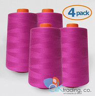 AK-Trading 4-Pack MAGENTA Serger Cone Thread (6000 yards each) of Polyester thread for Sewing, Quilting, Serger #842