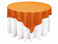 "AK-Trading 72""x72"" Grand Duchess Beaded Sequin Table Cover or Overlay (Orange)"