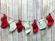AK-Trading Burlap Jute Christmas Stocking String Red and Ivory Twine - 7 Pieces