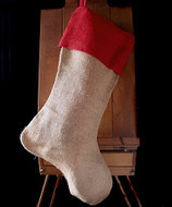 "AK-Trading Burlap Jute Holidays Christmas Stockings - Pack of 6 (Natural Jute Stocking with Red Cuff, 10"" 24""H x 14"" foot)"