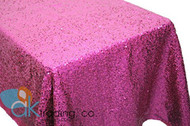 AK-Trading FUSCHIA Sequin Rectangular Tablecloth, Rain Drops Sequin Taffeta Fabric Sequin Table Cover- FUSCHIA