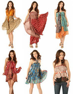 AK-Trading Indian Reversible Vintage Silk Sari Magic Wrap Skirts - Lot of 6 Pcs. (Assorted Sizes)