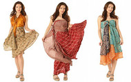 AK-Trading Indian Reversible Vintage Silk Sari Magic Wrap Skirts - Lot of 9 Pcs. (Assorted Sizes)