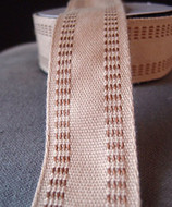 "AK-Trading Polyester Blend Burlap Webbing Ribbon with Stitching, 1.5"" Inches X 10 Yards (Brown)"