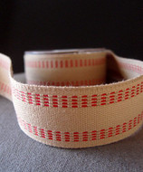 "AK-Trading Polyester Blend Burlap Webbing Ribbon with Stitching, 1.5"" Inches X 10 Yards (Red)"