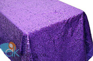 AK-Trading PURPLE Sequin Rectangular Tablecloth, Rain Drops Sequin Taffeta Fabric Sequin Table Cover- PURPLE