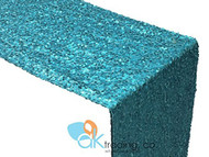AK-Trading Sequin Runner, 12x108 Inch Rain Drops Sequin Taffeta Fabric Sequin Runner (Turquoise)