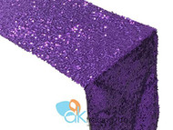 AK-Trading Sequin Runner, 12x60 Inch Rain Drops Sequin Taffeta Fabric Sequin Runner (Purple)