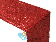 AK-Trading Sequin Runner, 12x60 Inch Rain Drops Sequin Taffeta Fabric Sequin Runner (Red)