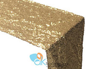 AK-Trading Sequin Runner, 12x72 Inch Rain Drops Sequin Taffeta Fabric Sequin Runner (Gold)