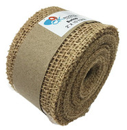 AK-Traing 2 Inch Burlap Jute Ribbon for Party Decorations, Rustic Wedding Decor, Craft Projects - Natural