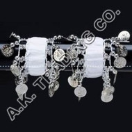 Belly Dance Dancing Arm Cuffs Bracelet - WHITE/SILVER (PAIR)