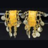 Belly Dance Dancing Arm Cuffs Bracelet - YELLOW/GOLD (PAIR)