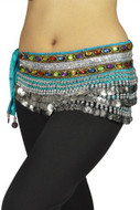 "Belly Dancing ""Gemstone"" Deluxe Velvet Hip Scarf - Turquoise/Silver"