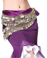 Belly Dancing Wavy Design Deluxe Velvet Hip Scarf - Purple with Gold Coins #V280