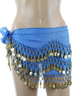 Chiffon Dangling Belly Dance Hip Scarf - Teal Blue with Gold Coins