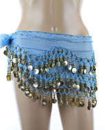 Chiffon Dangling Belly Dance Hip Scarf - Turquoise with Gold Coins