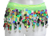 "Colorful Paillettes Belly Dancing ""Big Sequin"" - Green/Silver"