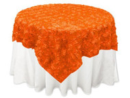 Grandiose Rose Design Rosette Table Overlay Table Cover - Orange (84x84)