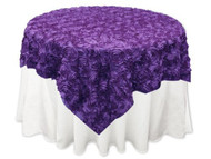 Grandiose Rose Design Rosette Table Overlay Table Cover - Purple (84x84)