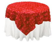 Grandiose Rose Design Rosette Table Overlay Table Cover - Red (72x72)