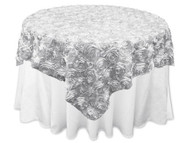 Grandiose Rose Design Rosette Table Overlay Table Cover - Silver (72x72)