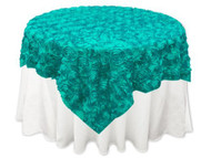 Grandiose Rose Design Rosette Table Overlay Table Cover - Turquoise (72x72)