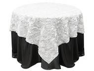 Grandiose Rose Design Rosette Table Overlay Table Cover - White (72x72)
