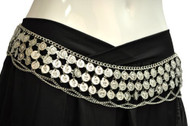 Gypsy Hippie Belly Dance Silver Metal Dangling Coins Chains Belt Adjustable
