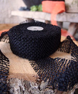 JUTE BURLAP RIBBON - BLACK 1.5 INCH X 10 YARDS