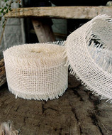 JUTE BURLAP RIBBON - IVORY 2.5 INCH X 10 YARDS