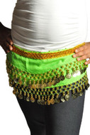 Kids Belly Dance Zumba Hip Scarf with Coins & Beads - Green/Silver