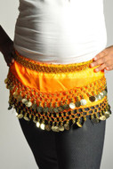 Kids Belly Dance Zumba Hip Scarf with Coins & Beads - Orange/Silver