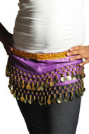 Kids Belly Dance Zumba Hip Scarf with Coins & Beads - Purple/Gold