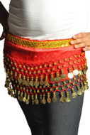 Kids Belly Dance Zumba Hip Scarf with Coins & Beads - Red/Silver