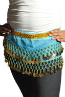 Kids Belly Dance Zumba Hip Scarf with Coins & Beads - Turquoise/Silver