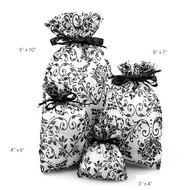 "Pack of 12 - Damask Print Sheer Organza Favor Gift Bags - Select from 4 sizes (5""x7"")"