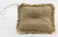 Package of 6 Rustic Natural Rectangle Shaped Burlap Ornament with a Jute Hanger